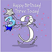 Happy Birthday, Three Today Boys Greetings Card