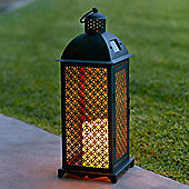 Moroccan Solar LED Candle Lantern