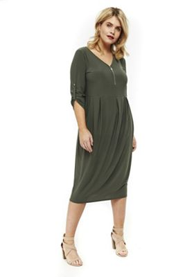 Evans Zip Front Detail Plus Size Midi Dress Khaki 22-24