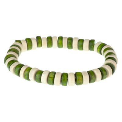 Urban Male 'Malvin' Green & Cream Wooden Bead Beach Style Bracelet for Men