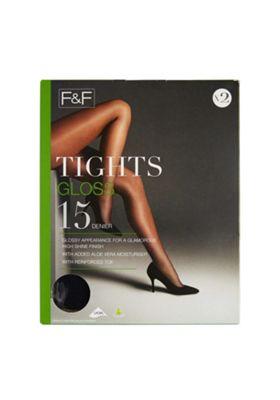 F&F 2 Pack of Gloss 15 Denier Tights M Black