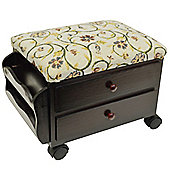 Atessa - Padded Footstool With Drawers And Tidy Rack - Mahogany