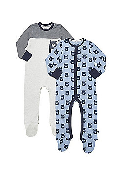 F&F 2 Pack of Bear Face Sleepsuits - Blue