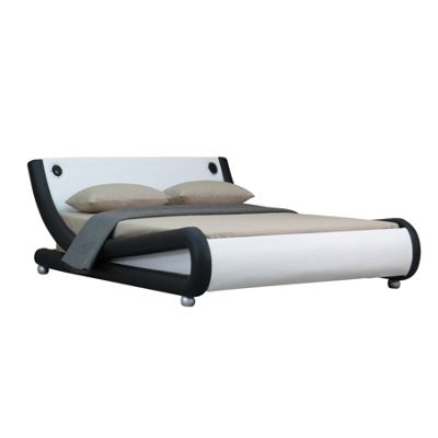 Comfy Living 4ft6 Double Curved Faux Leather Bed Frame in Black and White with Bluetooth Speakers with 1000 Pocket Damask Memory Mattress