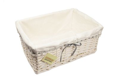 Rectangular White Wicker Basket With Cream Lining Grey Ribbon -Small