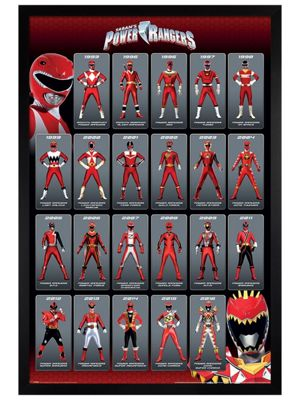 Black Wooden Framed Power Rangers Red Ranger Evolution Poster 61x91.5cm