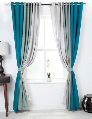 3 Tone Coloured Curtains with Tiebacks Jade/Sage/Stone 66