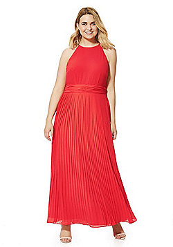 Lovedrobe Pleated Plus Size Maxi Dress - Orange