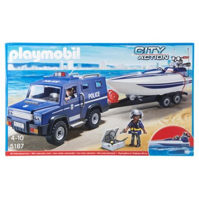 Playmobil City Action Police Truck With Speedboat 5187