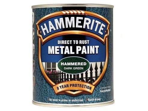 Hammerite Direct to Rust Hammered Finish Metal Paint Dark Green 750ml