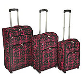 Tesco Damask 2-Wheel Pink 3pc Suitcase Set