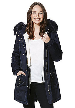 F&F Padded Hooded Shower Resistant Parka - Navy