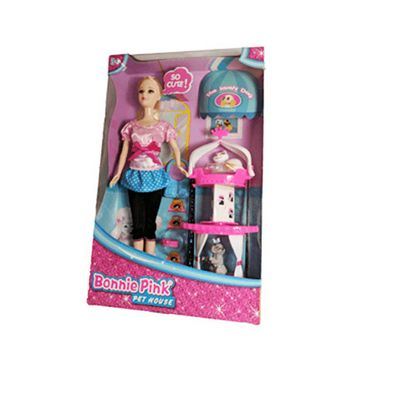 Bonnie Pink Blond Hair Doll - Pet House Play Set