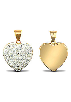 Ladies 9ct Yellow Gold White Round Crystal Love Heart Charm Pendant