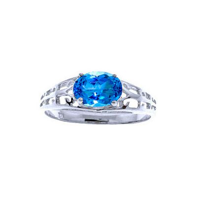 QP Jewellers 1.15ct Blue Topaz Catalan Filigree Ring in 14K White Gold - Size A