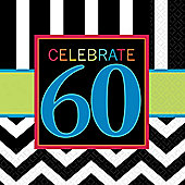 60th Birthday Napkins - 2ply Paper - 16 Pack