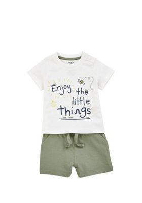 F&F Little Things Slogan T-Shirt and Shorts Set White/Khaki 3-6 months