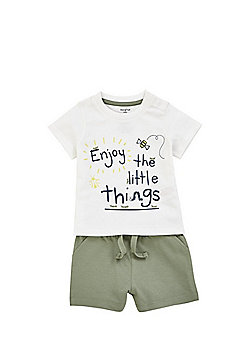 F&F Little Things Slogan T-Shirt and Shorts Set - White/Khaki