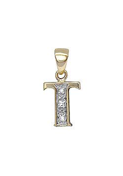 Jewelco London 9 Carat Yellow Gold Elegant 1.5pts Diamond-Set Initial Pendant - Initial T