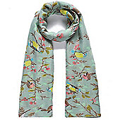 Green Bird and Berries Print Scarf