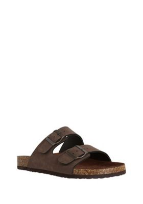 F&F Double Buckle Moulded Footbed Sandals Tan Adult 7