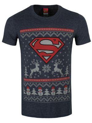 Superman Reindeer & Snowman Navy Blue Men's Christmas T-shirt