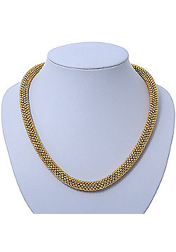 Statement Chunky Mesh Necklace In Gold Plating - 42cm Length/ 4cm Extension