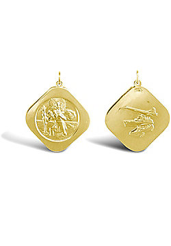 Solid 9ct Gold Double Sided Square St Christopher Medallion Pendant