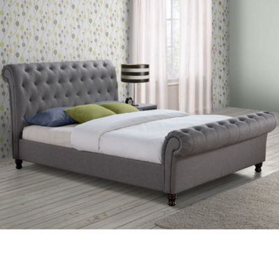 Happy Beds Castello Fabric Scroll Sleigh Bed - Grey - 4ft6 Double