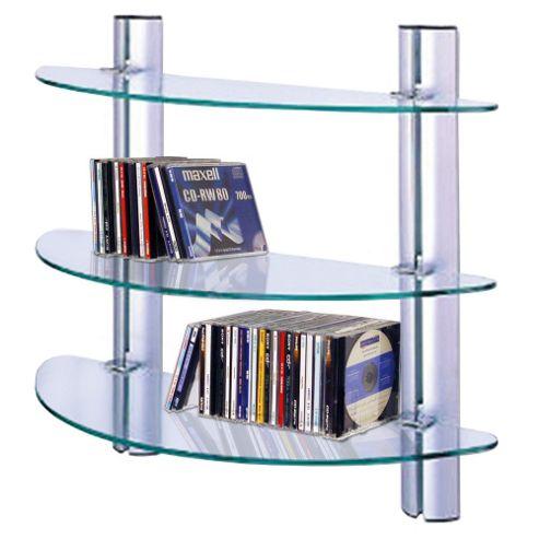 Techstyle 3 Tier Adjustable Glass Wall CD / DVD / Media Storage Shelves