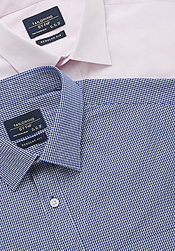 F&F 2 Pack of Easy Care Regular Fit Long Sleeve Shirts - Pink & Blue