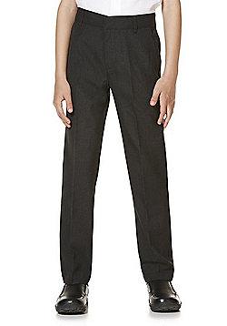"F&F School 2 Pack of Boys Teflon EcoElite""™ Flat Front Slim Leg Longer Length Trousers - Grey"