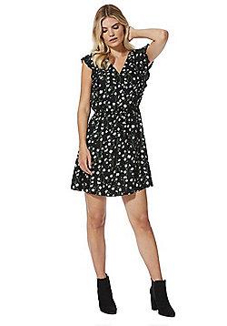F&F Daisy Print Tea Dress - Black multi