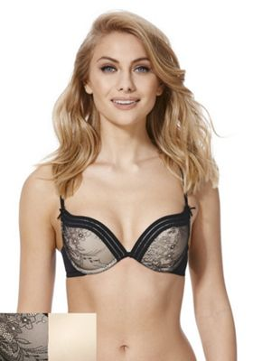 F&F Lola 2 Pack of Lace and Plain Push-Up Bras 32B Black & Nude