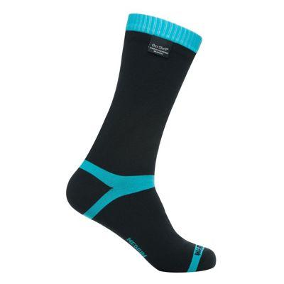 Dexshell Coolvent Waterproof Socks. Black And Aqua Blue. Size 12 - 14