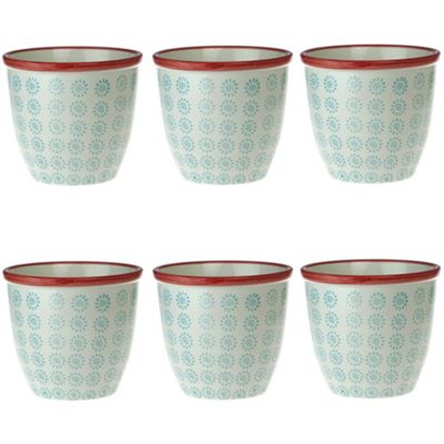Patterned Plant Pot. Porcelain Indoor / Outdoor Flower Pot - Turquoise / Red Swirl Design - Box of 6