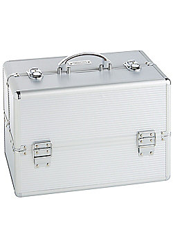 Beautify Large Silver Beauty Cosmetics Make Up Case