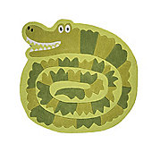 Kiddy Play Crocodile Shaped Green Rug - 90x90cm
