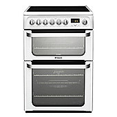 Hotpoint Ultima Electric Cooker with Electric Grill and Ceramic Hob, HUE62P S - White