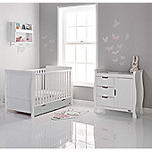 Obaby Stamford 2 Piece Cot Bed Nursery Room Set - White/Taupe