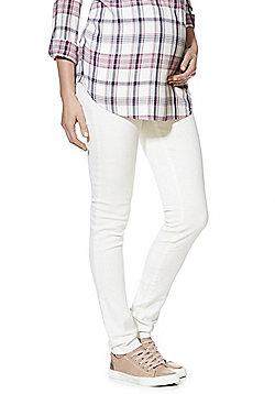 Mamalicious Over-the-Bump Slim Leg Maternity Jeans - White