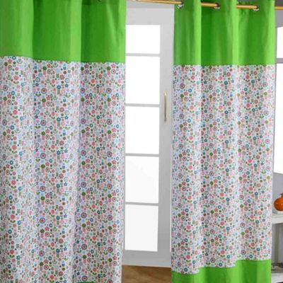 Homescapes Retro Flower Floral Ready Made Eyelet Curtain Pair, 137 x 228 cm Drop