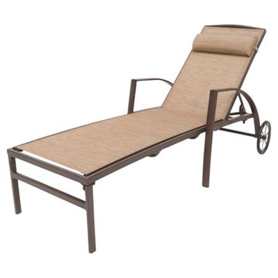 Monaco Metal & Waterproof Woven Textile Sun Lounger with wheels - Brown