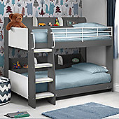 Happy Beds Domino Wood Kids Storage Bunk Bed with 2 Open Coil Spring Mattresses - Grey and White - 3ft Single