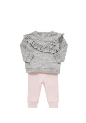 F&F Ruffled Sweatshirt and Leggings Set Grey 0-3 months