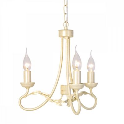 Ivory/Gold 3lt Chandelier - 3 x 60W E14