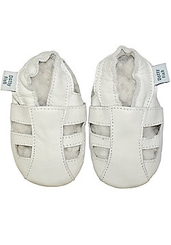 Dotty Fish Soft Leather Baby Sandal - White - White