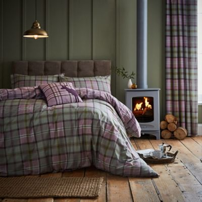 Catherine Lansfield Heritage Kelso Check Heather Duvet Cover Set - King