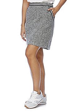 F&F Striped Trim Boucl© Mini Skirt - Black & White
