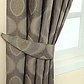 Homescapes Grey Jacquard Tie Back Pair Modern Curve Design